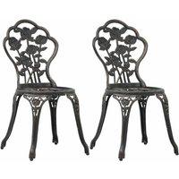 Bistro Chairs 2 pcs Bronze Cast Aluminium - YOUTHUP