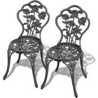 vidaXL Bistro Chairs 2 pcs Cast Aluminium Green - Green
