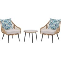 Bistro Set with Double-Sided Cushions Beige LAURETO - BELIANI