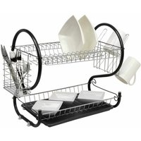 Black 2 Tier Chrome Plate Dish Drainer