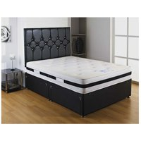 Black Airflow Sprung Memory Foam Divan bed With 2 Drawer Same Side And No Headboard Single