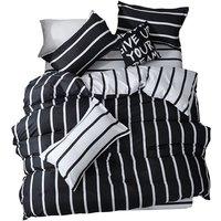 Black and White Bedspread Set Mix Color Black and White Simple Striped Bedding Set Multi-size Bedspread Four-piece Set Aloe Cotton Bedclothes Sheet