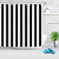 Briday - black and white shower curtain, striped bathroom curtain, 180 x 180cm waterproof polyester fabric, stylish bathroom decoration, loop hook