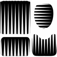 Black and White Striped Print Shower Curtain Polyester Bath Curtains 12 Hooks