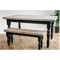 Black Farmhouse Dining Set With 2 Benches 122 cm