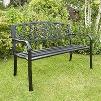 Black Garden Bench Metal 2 Seater Patio Chair Outdoor Seating Ornate Design