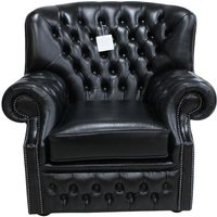 Black Leather Chesterfield Monks Armchair Old English - DESIGNER SOFAS 4 U