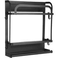 Black Magnetic Refrigerator Storage Holder Hanger Shelves for Microwave Washing Machine Organizer Holder(Double-layered)