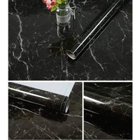 Black Marble Wallpaper Peel and Stick Wallpaper 23.6×197 Self Adhesive Removable Vinyl Waterproof Contact Paper for Kitchen Countertop Drawer Liner