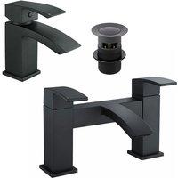Black Matt Basin Sink Bathroom Luxury Waterfall and Bath Filler Tap Set - TRADE TAPS
