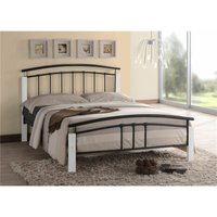 Black Metal and White Beech Bed Frame - Double 4ft 6