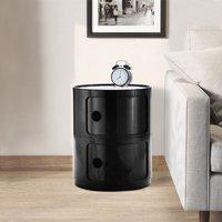 Black Round Bathroom Bedroom 2 Drawer Storage Unit ABS Cabinet Cupboard Bedside Table