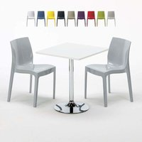 COCKTAIL Set Made of a 70x70cm White Square Table with Steel Pedestal Base and 2 Colourful ICE Chairs | Grey - GRAND SOLEIL