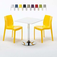 COCKTAIL Set Made of a 70x70cm White Square Table with Steel Pedestal Base and 2 Colourful ICE Chairs | Yellow - GRAND SOLEIL