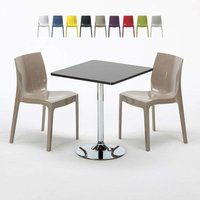 MOJITO Set Made of a 70x70cm Black Square Table and 2 Colourful ICE Chairs | Cream - GRAND SOLEIL