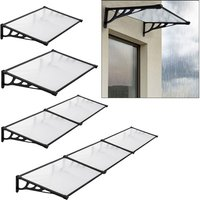 Black Straight Door Canopy Awning Shade Shelter, 190x90x28CM - LIVINGANDHOME