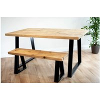 Black Trapezium Dining Set With 2 Benches 213 cm