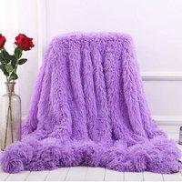 Blanket Large Soft Warm Fur Shaggy Fluffy Throw Plush Home Sofa bed Winter Plus 160 * 200cm Purple - INSMA