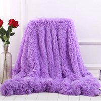 Blanket Large Soft Warm Fur Shaggy Fluffy Throw Plush Home Sofa bed Winter Plus 130 * 160cm Purple - INSMA