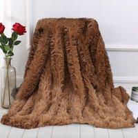Blanket Large Soft Warm Fur Shaggy Fluffy Throw Plush Home Sofa bed Winter Plus 130 * 160cm Khaki - INSMA