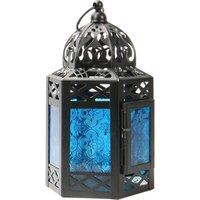 Blue Moroccan Hanging Lantern Tea Light Candle Holder in Vintage Style | MandW - Blue