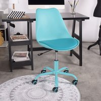 Meuble Express - Blue office chair with semi-leather seat and plastic backrest with wheels