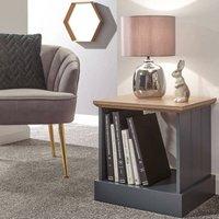 Blue Slate Lamp Table Bedside Cabinet Grooved Panels Open Shelf Storage Oak Top