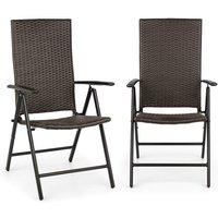 Estoril Set 2 chaise de jardin pliantes 7 positions alu & polyrotin - - Blumfeldt