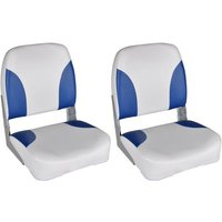 Boat Seats 2 pcs Foldable Backrest Blue-white Pillow 41x36x48cm - Vidaxl