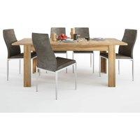 Netfurniture - Bold Dining set package Bold Extending dining table in Grandson Oak + 6 Lillie High Back Chair Dark Brown. Grandson Oak Wood