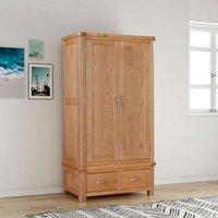 Bologna Oak Double Wardrobe with 2 Drawers - PAPAYA