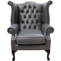 Bonded Leather Grey Chesterfield Queen Anne Wing chair | DesignerSofas4U