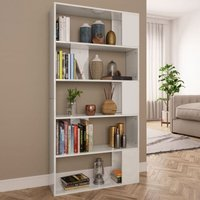 Youthup - Book Cabinet/Room Divider High Gloss White 80x24x159 cm Chipboard