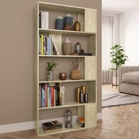 vidaXL Book Cabinet/Room Divider Sonoma Oak 80x24x159 cm Chipboard - Brown