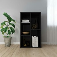 vidaXL Book Cabinet/Sideboard 50x25x80 cm Chipboard High Gloss Black - Black