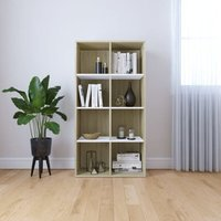 Book Cabinet/Sideboard 66x30x130 cm Chipboard White and Sonoma Oak 66x30x130 cm - Multicolour - Vidaxl