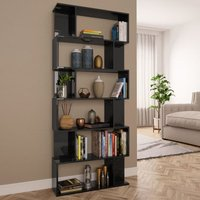 Zqyrlar - Book Cabinet/Room Divider High Gloss Black 80x24x192 cm Chipboard - Black