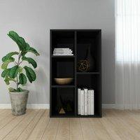 Book Cabinet/Sideboard High Gloss Black 45x25x80 cm Chipboard - Black