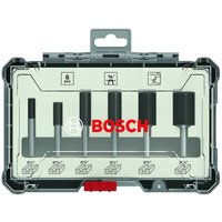 Bosch 2607017467 6 Piece Router Bit Set Straight 1/4 Shank 50 54 60mm + Case