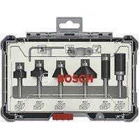 Bosch 2607017470 6 Piece Trim and Edge Router Cutter Set Straight 1/4 Shank +Case