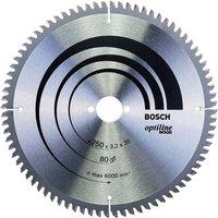 250mm x 30mm x 80T Wood Circular Saw Blade Optiline 2608640645 - Bosch