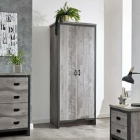 3pc Bedroom Furniture Set Wardrobe Chest Drawers Bedside Table Grey - Boston