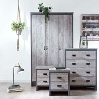 4pc Bedroom Furniture Set Wardrobe Chest Drawers Pair of Bedsides Grey - Boston