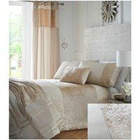 Bedmaker - Boulevard Crushed Velvet Cream Quilt Double Duvet Cover Bedding Set