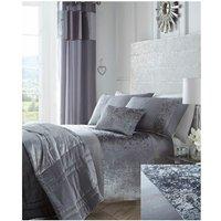 Boulevard Crushed Velvet Silver Grey Quilt Double Duvet Cover Bedding Set