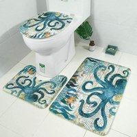 Perle Raregb - Brand New 3 Piece Non-slip Soft Bath Mat Marine Life Outline Bath Mat Set WC Toilet Seat Cover