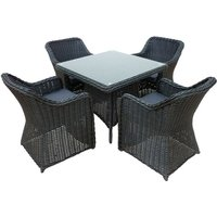 Branscombe Rattan 4 Seat Dining Set in Black with Grey Cushions