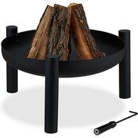 Relaxdays - Brasero de jardin, Ø 60 cm, tisonnier inclus, terrasse, bac à feu en acier, extérieur, grand foyer, noir