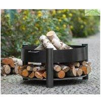 Brasero de jardin SOLAFA avec range bois en acier noir - Sans couvercle - Sans couvercle - COOK KING