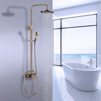 Brass Bathroom Mixer Shower Shower System with 8 Rainfall Shower Head and 2 Hand Held Shower, Rod Extendable 37-53